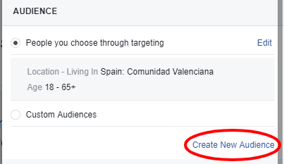 create new target audoence